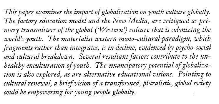 Globalization And Its Impact On Youth * Journal Of Futures